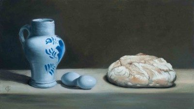 18thC Delft Vase, Blue Eggs & Bread