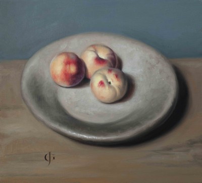 Three Peaches on a Stone Dish