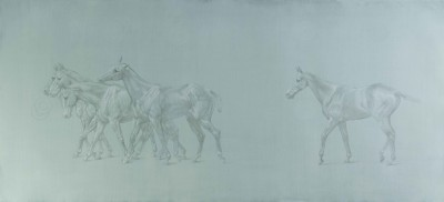 Study for 'Walking line of polo ponies'