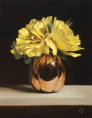 Yellow Peonies in a Copper Vase