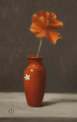 Coral Pansy in Coral-Red Vase