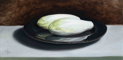 Chicory on a Black Plate
