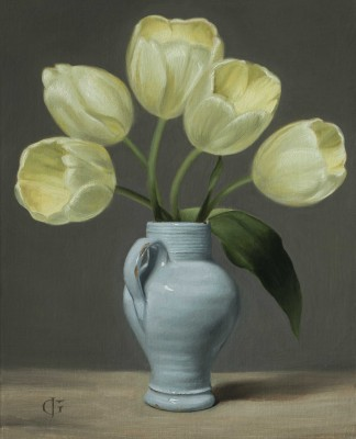 Pale Yellow Tulips in an 18thC Delft Vase