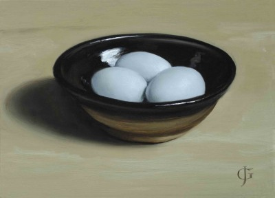 Three Blue Eggs in a Pottery Bowl
